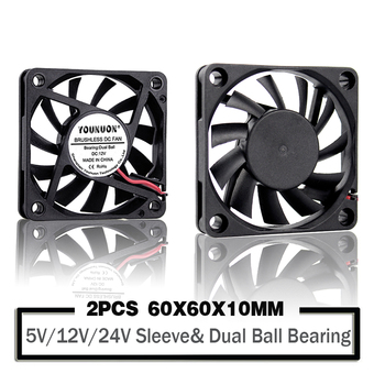 2 Pieces 5V 12V 24V 60mm 6010 DC  Fan 60x60x10mm 6cm Cooling Cooler Fan Computer PC CPU Case Cooling Ball Bearing Fan 2 pieces lot computer pc case dc cooling fan 5 volt 35mm dupont connector