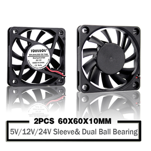 2PCS YOUNUON 60mm 5V 12V 24V Brushless USB 2PIN 3PIN DC Cooler Fan 60x60x10mm 6010 6cm 2.36inch For Computer PC CPU Case Cooling(China)
