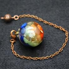 Bronze Orgonite Energy Pendant Ball Orgone Necklace Natural Crystal Quartz Stones 7 Chakra Reiki Healing Jewelry Charms Hanger