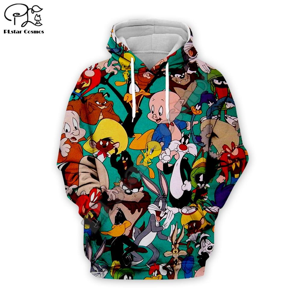 Men Cartoon Bugs Bunny 3d hoodies Sweatshirt zipper looney tunes collection print unisex casual Pullover autumn jacket tracksuit