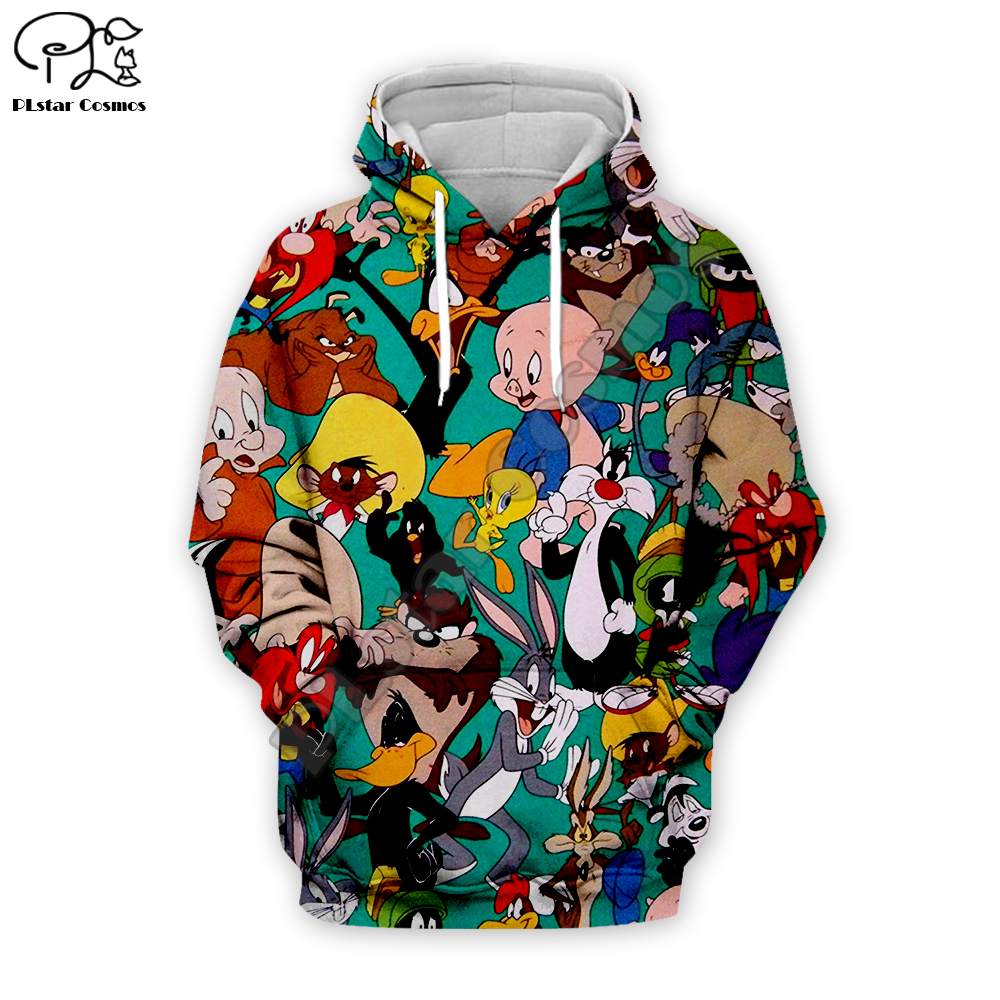 Men Cartoon Bugs Bunny 3d Hoodies Sweatshirt Zipper Looney Tunes Collection Print Unisex Casual Pullover Autumn Jacket Tracksuit