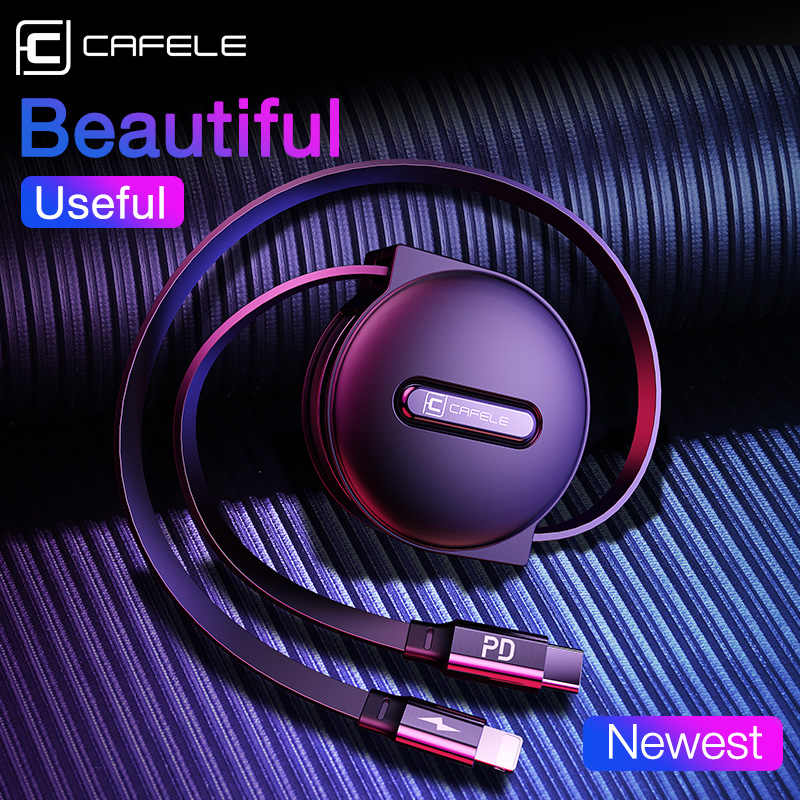 CAFELE18W PD Fast Charging USB cable for iPhone 11 Pro Max XS 8 7 6 Retractable USB Cables for IOS 13 Data Sync Charge Cable 1m