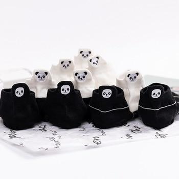 Animal Panda print black & white socks funny cute Calibration embroidery ankle cartoon kawaii boat happy cotton fashion sox худи print bar panda pilot