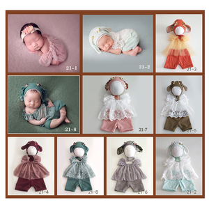 Image 2 - Don&Judy Newborn Photography Props Baby Outfits Ears Hat Bonnet Clothes Set Fotografia Accessories Studio Shoots Photo Props