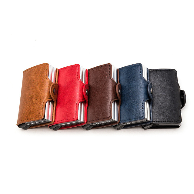 BISI GORO 2021 Smart Man Wallet Double Boxes Card Holder  RFID Blocking Anti-theft PU Leather Travel Money Case 5