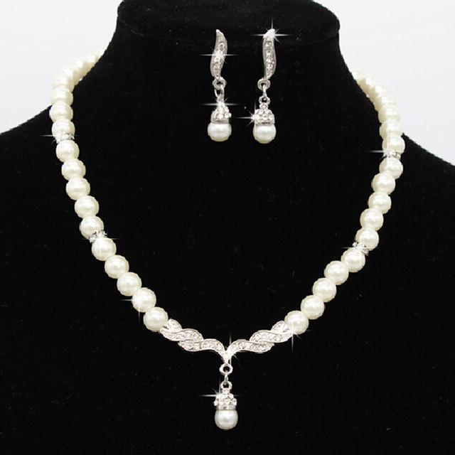 Wedding Party Pearl Rhinestone Necklace Earrings set