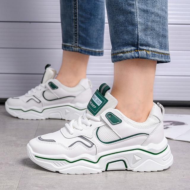 Zapatillas de deporte gruesas para mujer, zapatos vulcanizados informales de plataforma a la moda, zapato de cesta, deportivas, 2019
