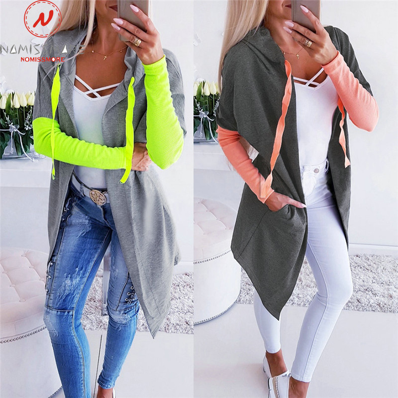 Women Hoodies Patchwork Coloe Matching Design Hooded Decor V-Neck Long Sleeve Top Fashion Lady Autumn Streetwear Shirts