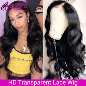 HD Lace Wig Body Wave Wig Lace Front Human Hair Wigs 200 250 Density Remy Brazilian Skin Melt Invisable Transparent Lace Wigs(China)