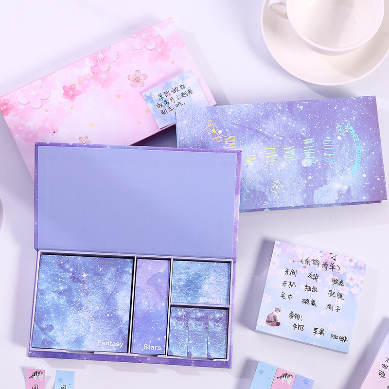 AngelHere Store Sakura Kawaii Boxed Memo Pad Japanese Style Sticky Notes Stickers Creative Gift Box For School Office Supplies