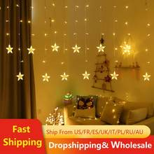 5M LED Weihnachten Stern Vorhang Lichter 220V EU Outdoor/Indoor Girlande String Fairy Lampe Für Party Hochzeit urlaub Dekoration(China)
