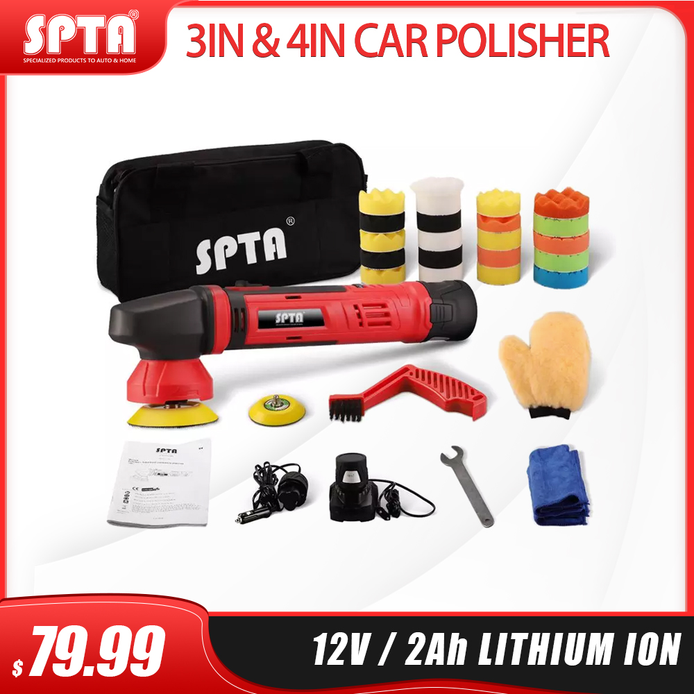 SPTA 3inch & 4inch Car Polisher Machine with 12V 2.0Ah Lithium Battery Variable Speed Dual Action Polisher Waxing Power Tool