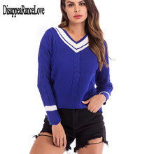 цены Autumn Winter Contrast Color Women Sweater Casual Long Sleeve Pullovers Women V-Neck Knitted Tops Women Jumper Femme Soft
