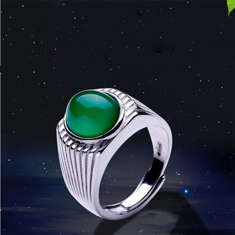Natural s925 sterling silver fashion emperor green jade ring resizable