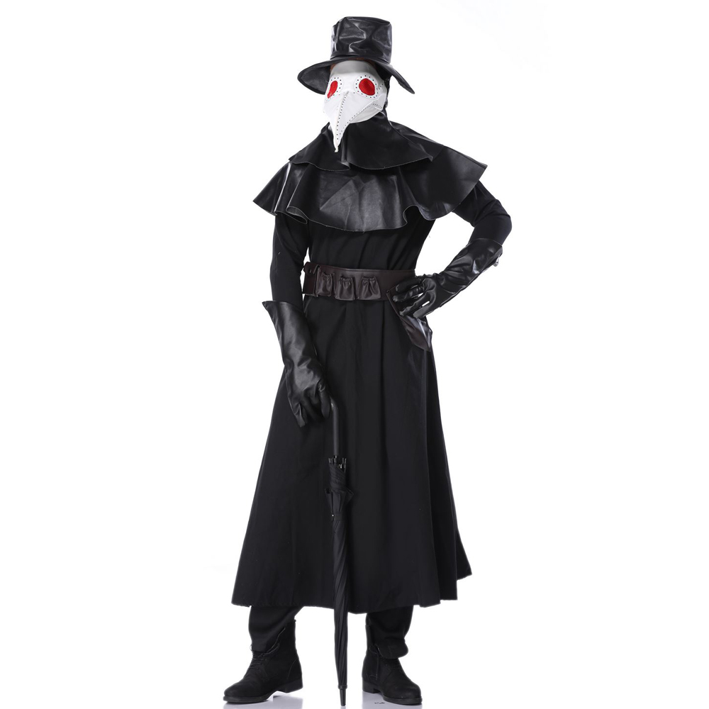 Doctor Schnabel Costumes Design Hand Made Plague Doctor Death Mask Bird Beak Spike Steampunk Steam Punk Gothic uniform Cosplay image