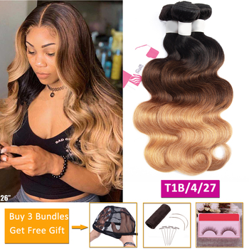 body wave bundles T1b/4/27 blonde ombre human hair bundles deals non-remy hair extensions Peruvian Brazilian hair weave bundles image