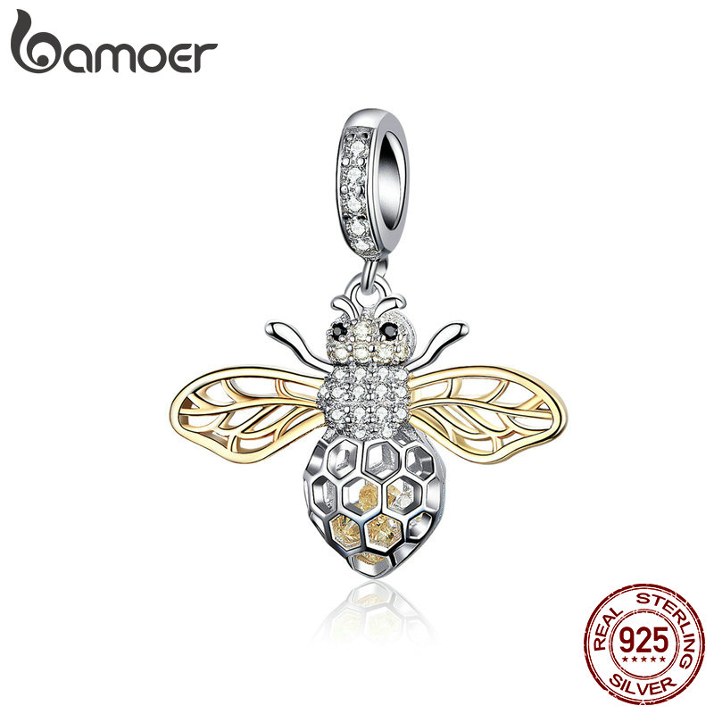 BAMOER Genuine 925 Sterling Silver Clear Zircon Bee Charms Insect Pendant Fit Original Bracelets & Necklaces Jewelry SCC1125
