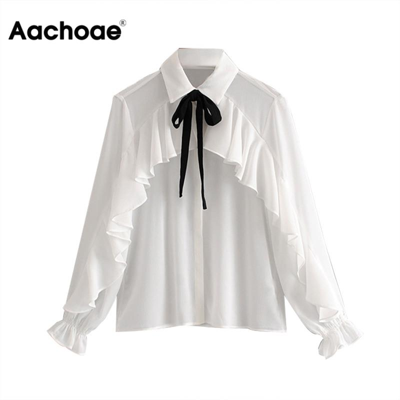 Aachoae Women Bow Tie Long Sleeve White Chiffon Blouse Ladies Turn Down Collar Ruffles Office Shirt Casual Tops Ropa Mujer