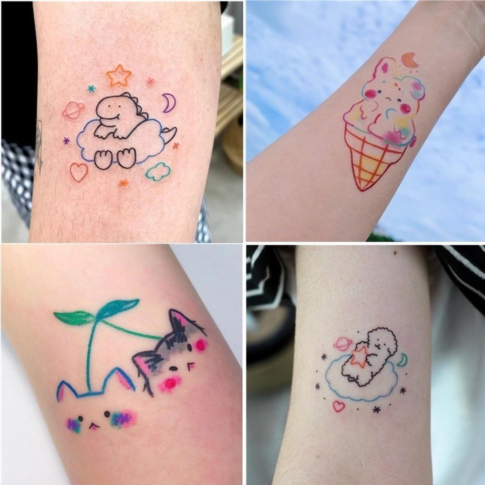 4 Sheets Cute Girls Tattoo Stickers Waterproof Long Lasting Small Pattern Cartoon Stickers