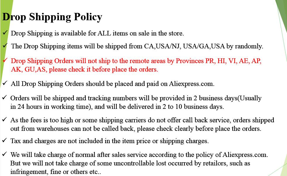 US Warehouse Drop Shipping Available