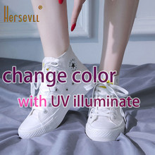 Color Changing Shoes Women UV Versatile Lightweight White Women Shoes High-top Canvas Shoes GIRLS Outdoor Famous Sneaker(China)