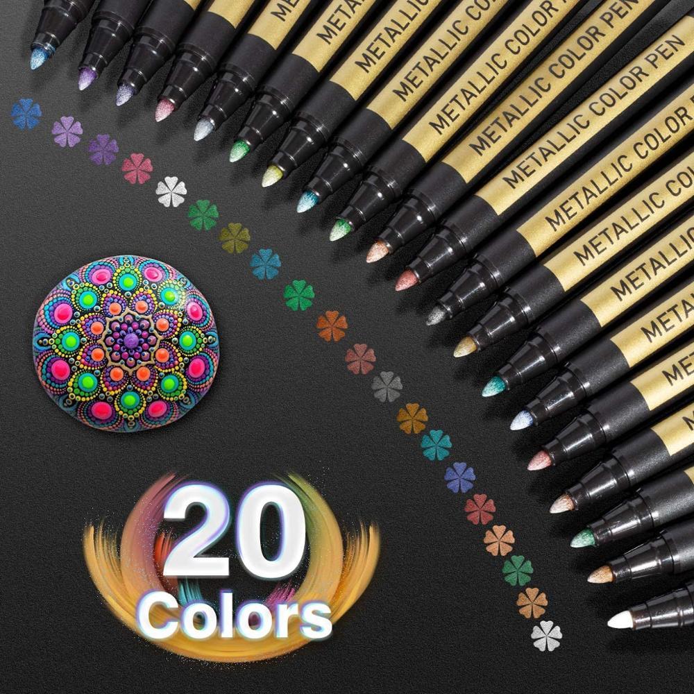 Marcadores metálicos da pintura canetas ajustaram marcadores do ofício da pena da pintura de 20 cores para a pintura da rocha, álbuns da foto, scrapbooking