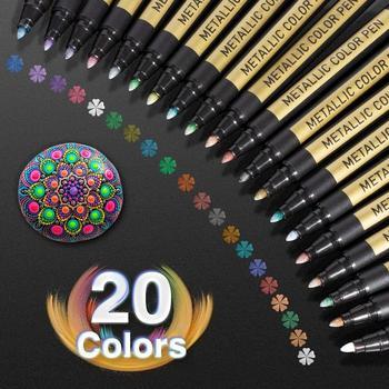 Metallic Paint Markers Pens Set 20 Colors Paint Pen Craft Markers for Rock Painting, Photo Albums, Scrapbooking