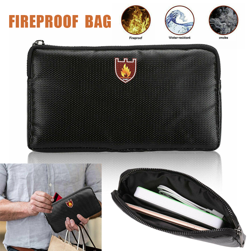 Fireproof Document Bag Fire Resistant Zipper Sewing Thread Black File Document Bag Cash Storage Safe Bag for iPad Money Jewelry