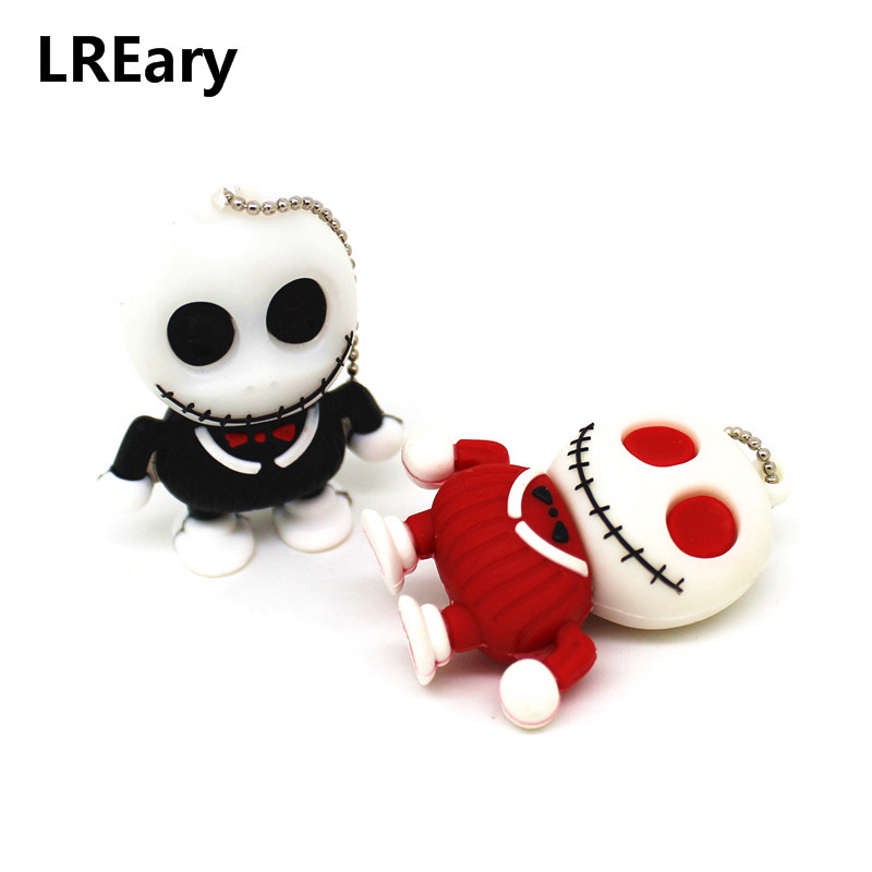 Funny USB Flash Drives 64GB 128GB Skull Skeleton Pendrives 32GB 4GB 8GB 16GB Pen Drive Memory Stick I Flashdisk Creative Gifts