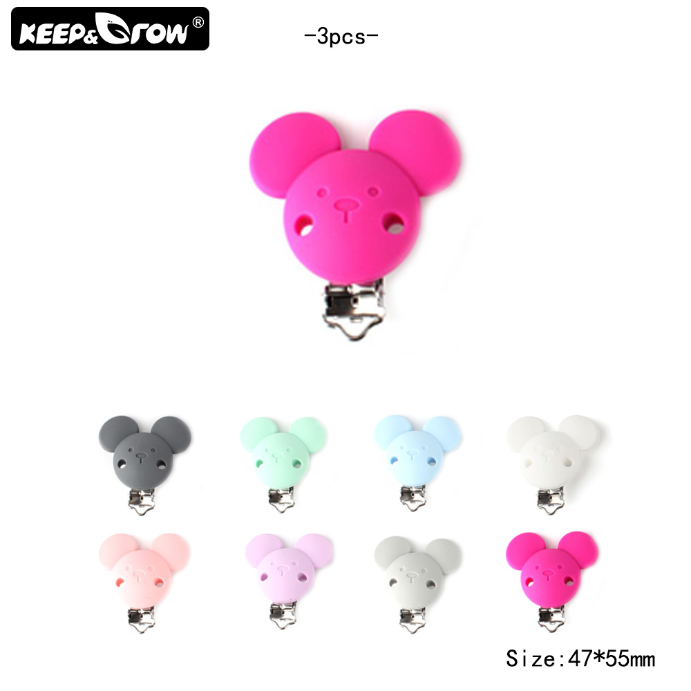 Keep&Grow 3Pcs Silicone Mickey Pacifier Clips Food Grade Silicone Nipple Holder BPA Free Baby Teething Beads For DIY Tool