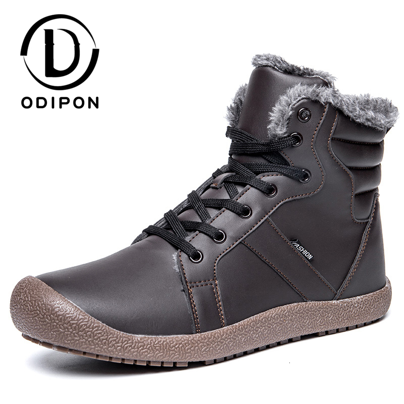 Odipon Winter Shoes Outdoor Sports Snow Boots Warm Plus Fur Running Sneakers Waterproof High Top Lace-up Leather Big Size 48
