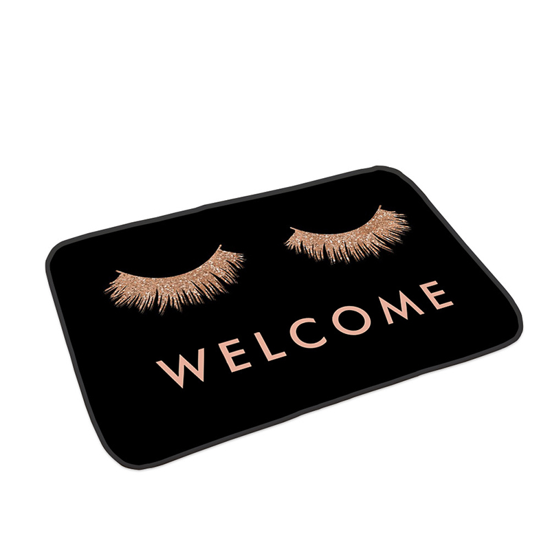 Anti-slip Absorb water Bath mat  Cartoon eyelash Bathroom kitchen bedroon floor mat Entrance Rugs kids prayer mat 40*60cm 0050 6