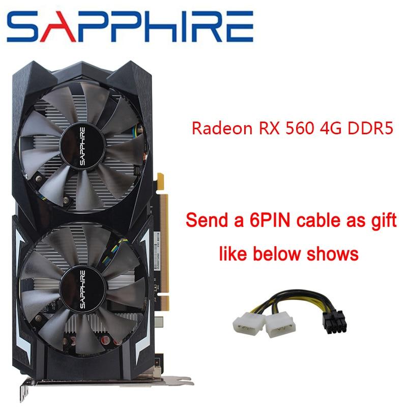 Carte graphique saphir AMD Radeon RX 560 4GB 128bit GDDR5 carte graphique PCI de bureau RX560 pour cartes d'occasion de jeu PC