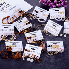 2019 Bohemian Leopard Acrylic Pearl Earrings Set for Women Fashion Geometry Tassel Handmade Earrings Jewelry Gift Set(China)