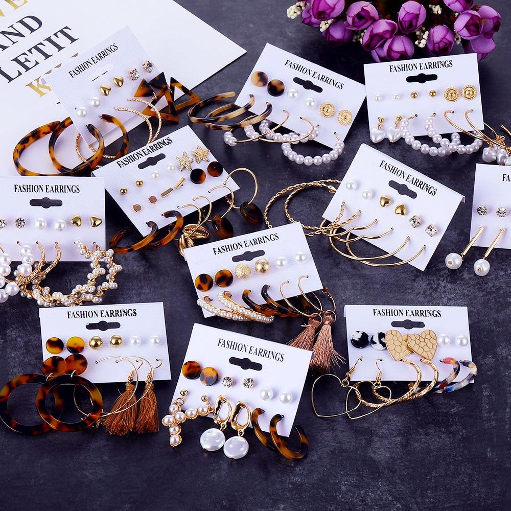 2020 Bohemian Leopard Acrylic Pearl Earrings Set For Women Fashion Geometry Tassel Handmade Earrings Jewelry Gift Set