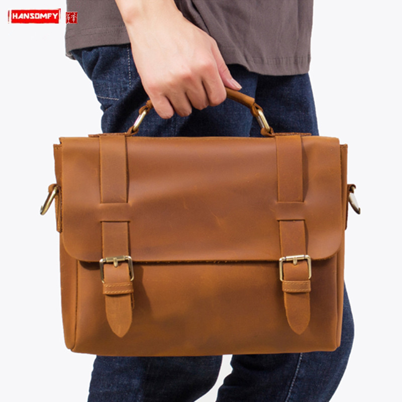 Handmade Crazy Horse Leather Men's Briefcase Laptop Bag Men Handbag Retro Leatehr Business Casual Simple Shoulder Messenger Bags