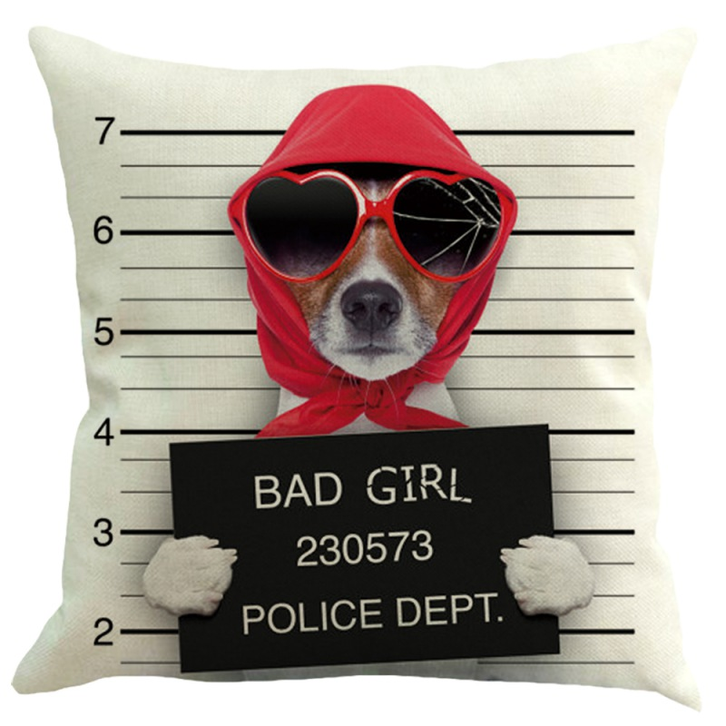 Cool Dog Bad Guilty Decorative Pillowcase Square Cotton Linen Throw Pillow Cover For Bedroom Home