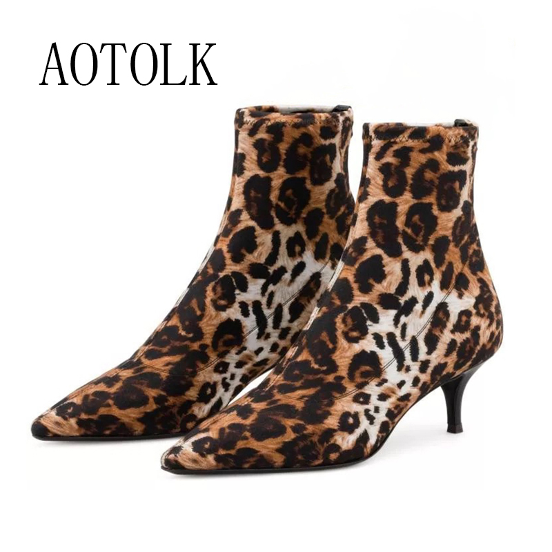 Women Ankle Boots Warm Shoes Female Brand Women Thin Heels Stretch Fabric Boots Silver Leopard Winter Spring 2020 New Aarrival D