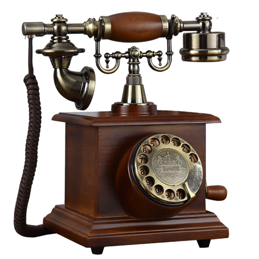 Antique Telephone, Wooden Corded Vintage Telephone Decorative Landline Classic Rotary Dial with Hanging Headset for Home Hotel