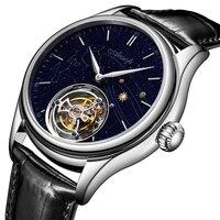 Reloj de Tourbillon mecánico para hombre, de lujo, con esfera dorada, zafiro, Tourbillon, movimiento de esqueleto, a la moda, 2020