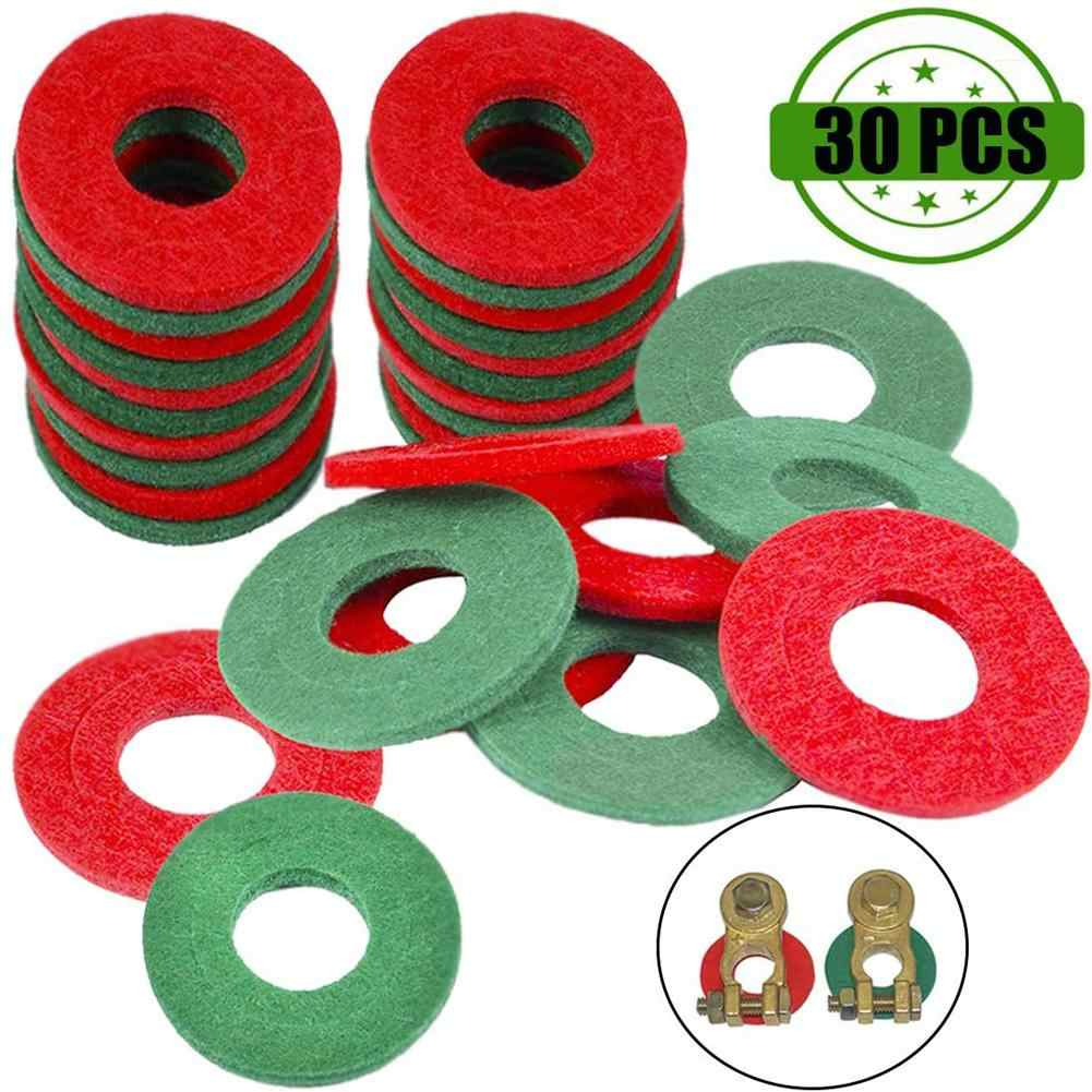 12 Red and 12 Black Ampper Battery Terminal Washers 24 Pieces Battery Terminal Post Protector Anti Corrosion Fiber Washers