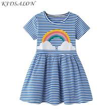 Baby Girl Dress with Animal Applique Vestidos Striped Cotton Kids Unicorn Party Dresses for Girls Clothes Casual Dress 2-7Y(China)