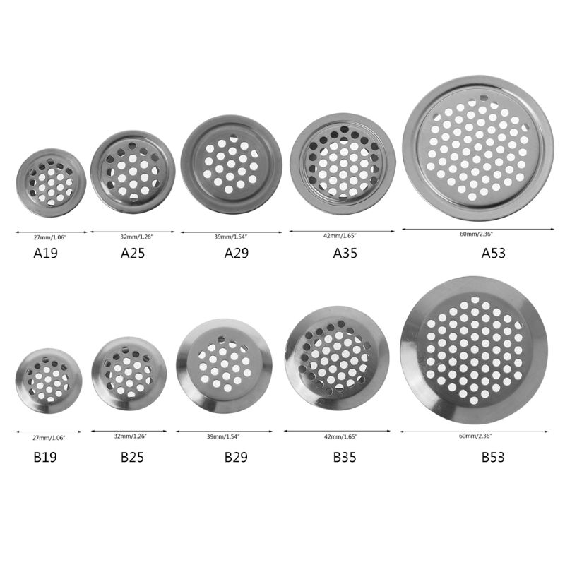 1PC Cabinet Air Vent Louver Mesh Hole Round Stainless Steel Flat/Convex Surface Air Vent