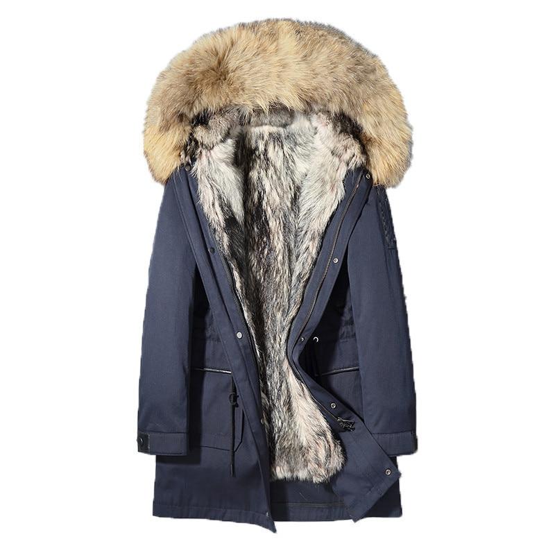 Real Fur Coat Winter Jacket Men Natural Wolf Fur Liner Parka Men Clothes 2020 Raccoon Fur Collar Long Coat  L18-5500 MY1633
