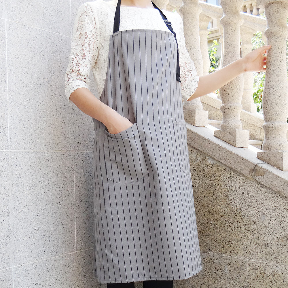 Nordic style Apron Gray Geometric Pattern Home Fabric Anti staining Apron with 2 Pockets for Kitchen Cooking Restaurant BBQ|Aprons| |  - title=