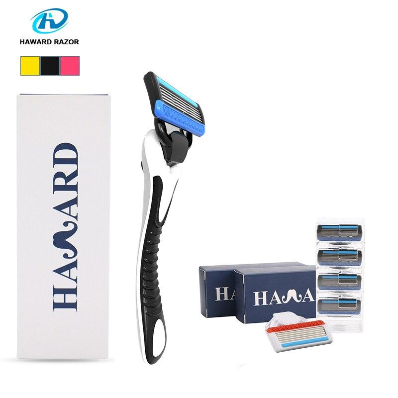 Haward Razor System Shaver Shaving Razor Men's Manual Shaver For Shaving & Hair Removal(10 Cartridges 5-layer Replacement Blade)