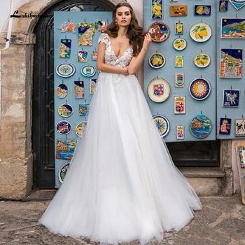 Vestido de novia de tul blanco Sexy playa 2020 Abito da Sposa...