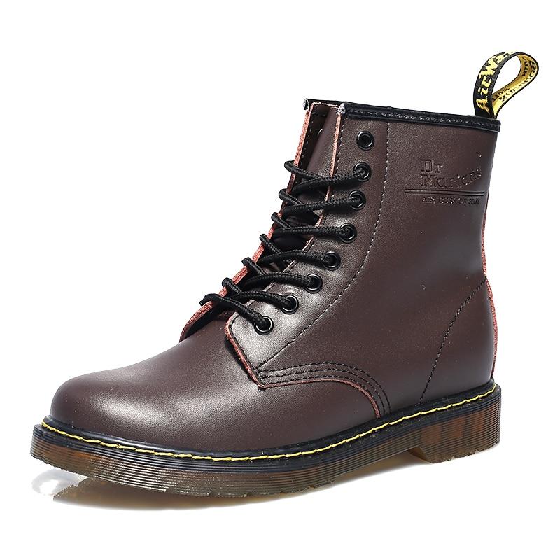 Homens botas de pele de inverno martens botas de tornozelo homens sapatos de couro casal doc martin botas de motocicleta de borracha botas hombre dropshipping| |   -