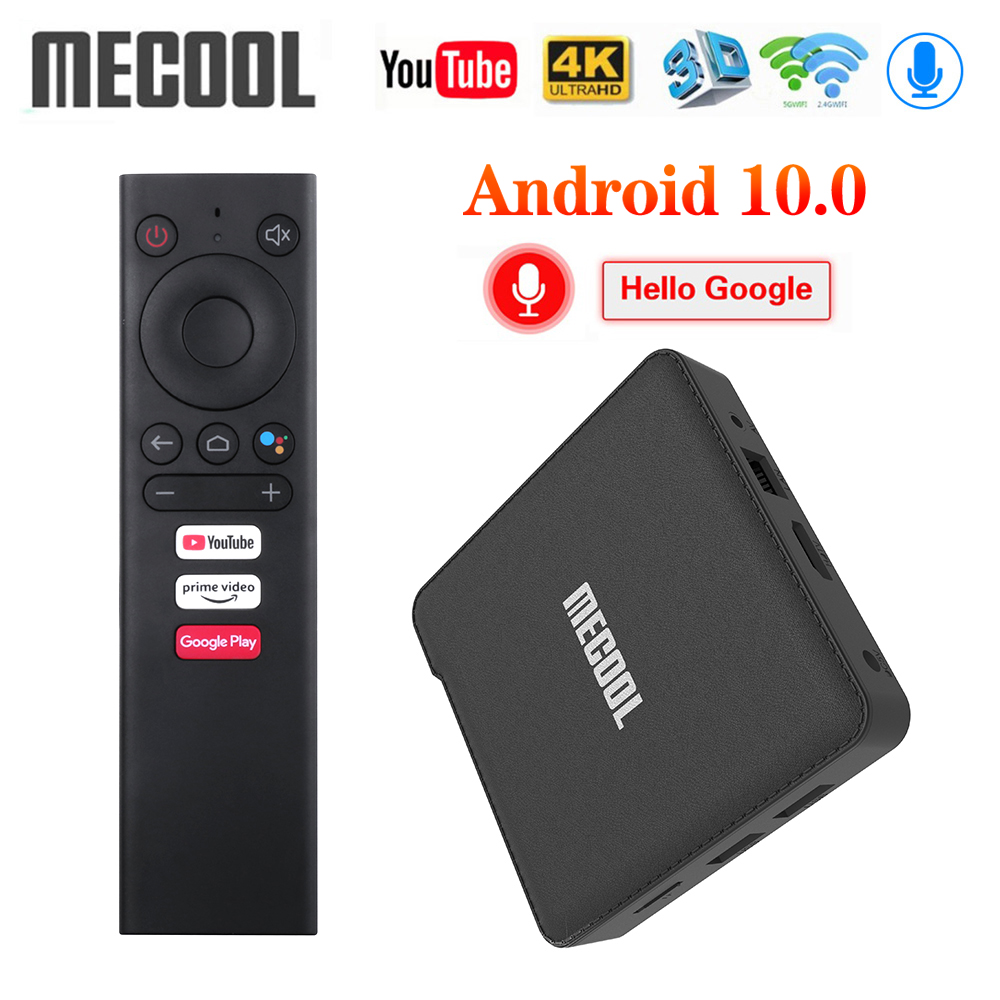 2020 Mecool KM1 ATV Google Certified Android 10 TV Box Amlogic S905X3 Smart Androidtv Prime Video 4K Dual Wifi 2T2R Set Top Box