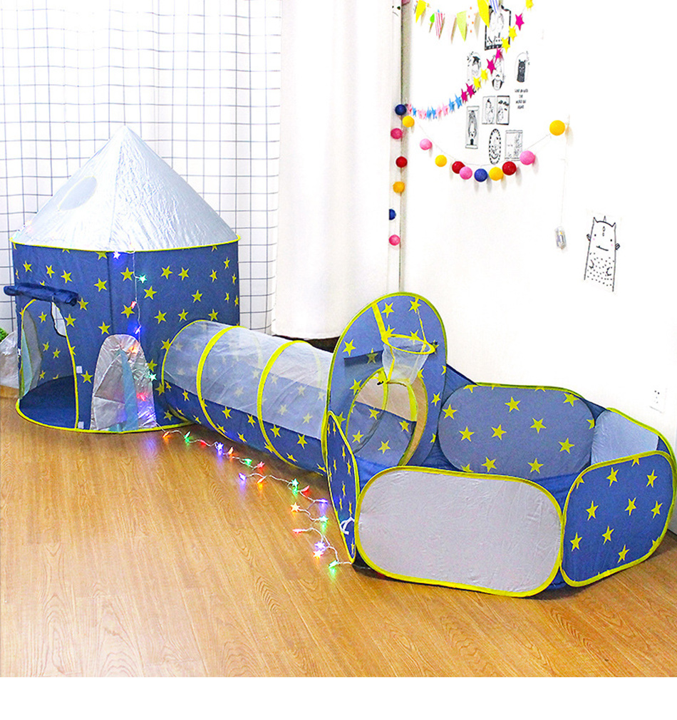 3 In 1 Spaceship Children's Tent Portable Wigwam Kids Tent Children's Room Toys Play Tent Baby Ball Pool Tipi Tent For Kids Toys